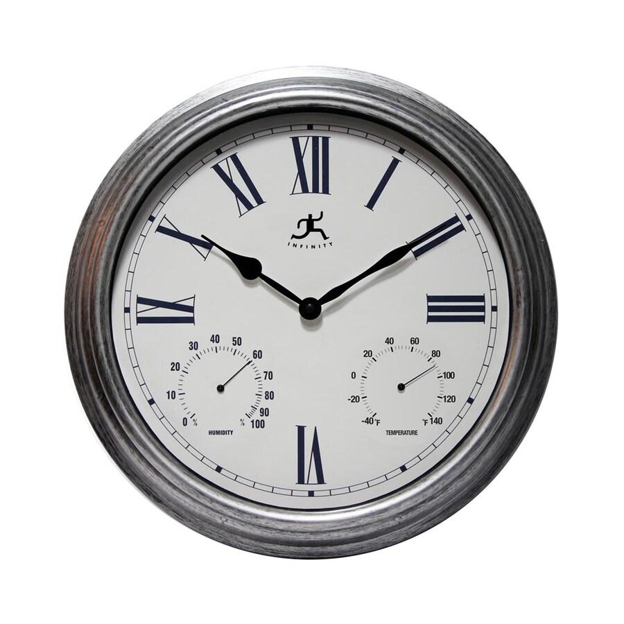 Infinity Instruments Silo Analog Round Indoor/Outdoor Wall Combination Clock