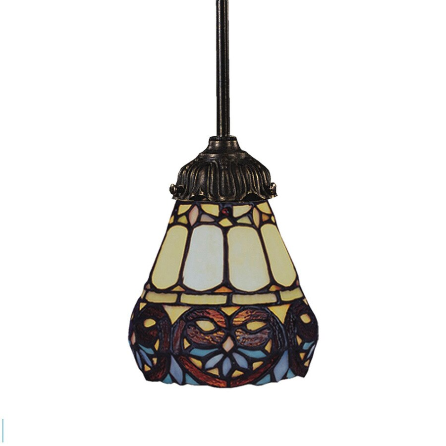 Westmore Lighting San Rafael 6-in Tiffany Bronze Tiffany-style Mini Stained Glass Bell LED Pendant