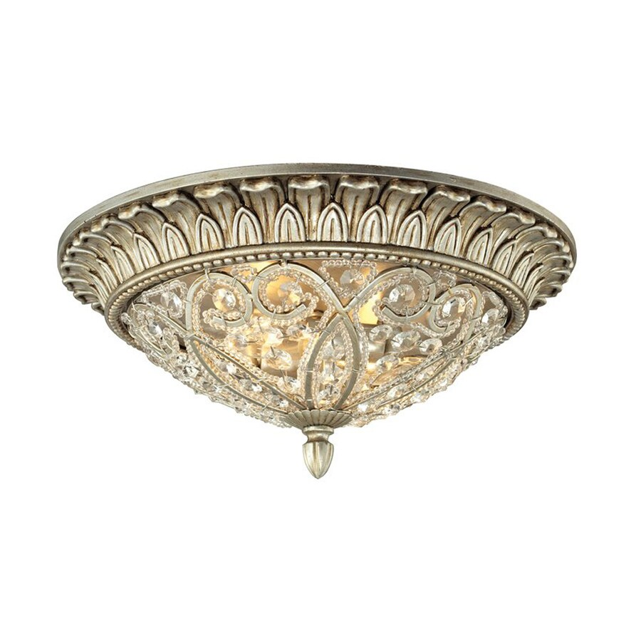 Westmore Lighting Andalusia 13-in W Aged Silver Flush Mount Light