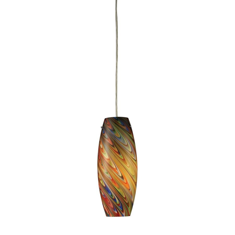 Westmore Lighting Elara 5-in Satin Nickel Mini Art Glass Cylinder Pendant