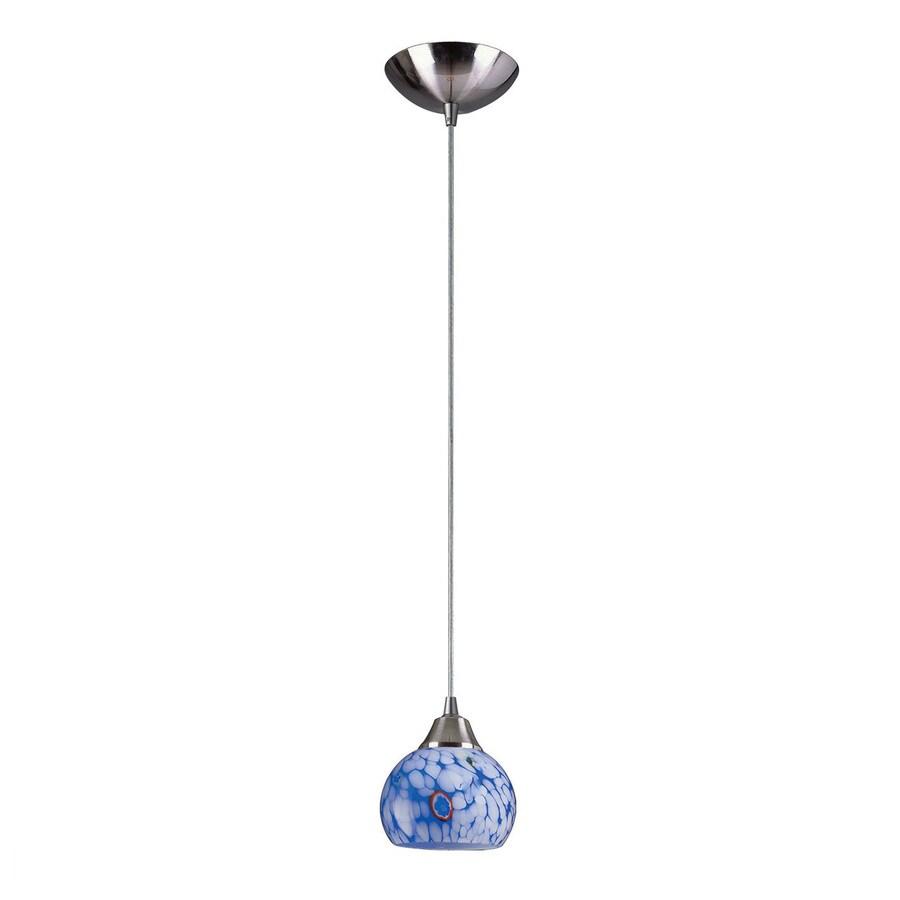Westmore Lighting Lemora 6-in Satin Nickel Mini Art Glass Teardrop LED Pendant