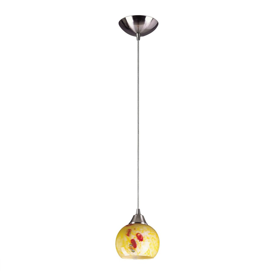 Westmore Lighting Lemora 6-in Satin Nickel Mini Art Glass Teardrop LED Pendant