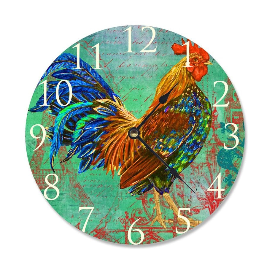Stupell Industries Rainbow Rooster Analog Round Tabletop Clock