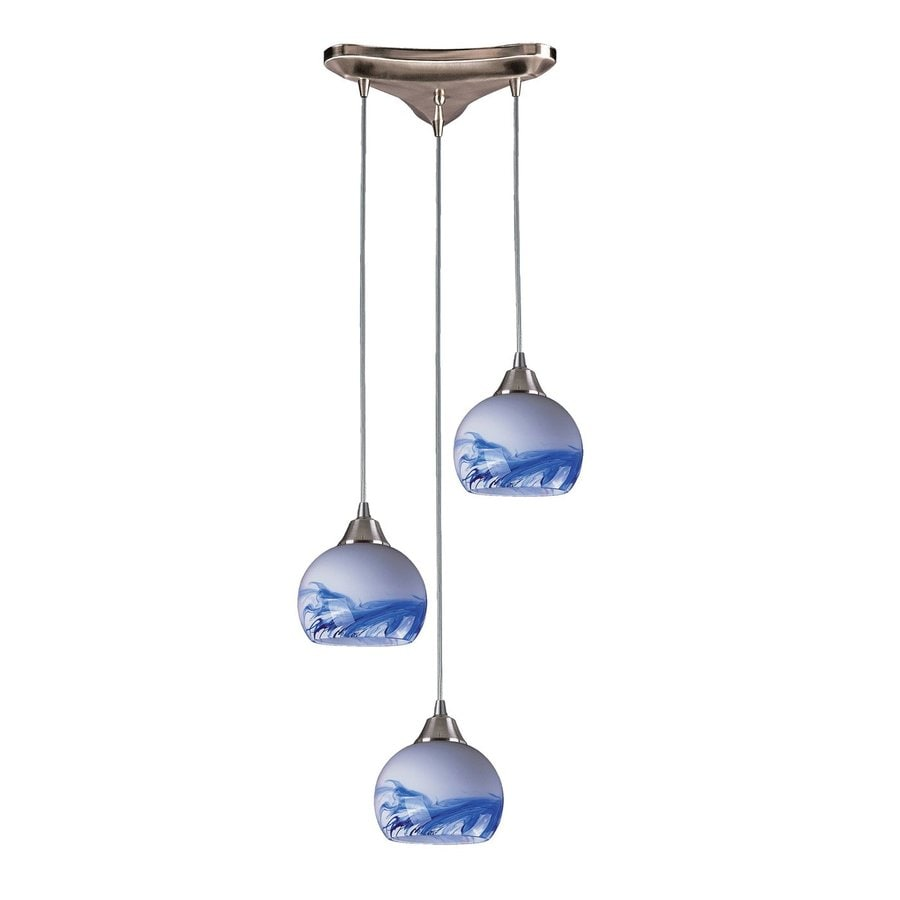 Westmore Lighting Lemora 12.75-in Satin Nickel Multi-light Art Glass Teardrop Pendant