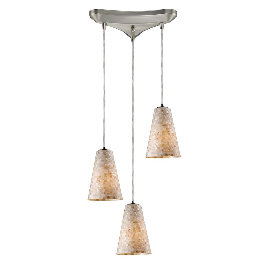 Westmore Lighting Tiara 12.75-in Satin Nickel Coastal Multi-light Cone Pendant