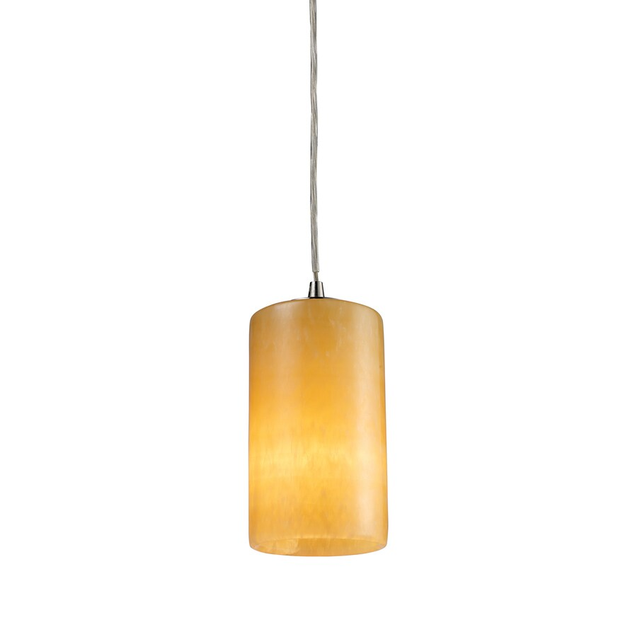Westmore Lighting Coletta 4-in Satin Nickel Mini Art Glass Cylinder Pendant