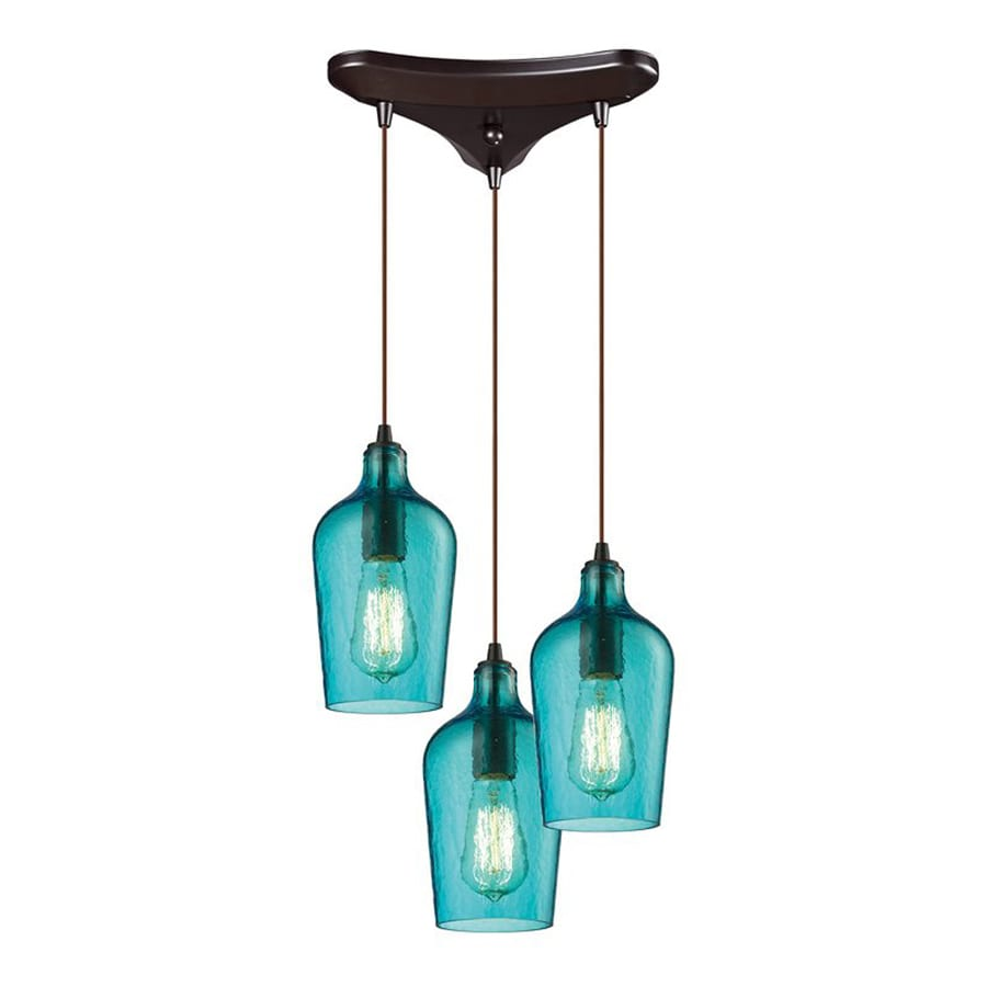 Westmore Lighting Glassmith 11.75-in Oil Rubbed Bronze Industrial Multi-light Tinted Glass Bell Pendant