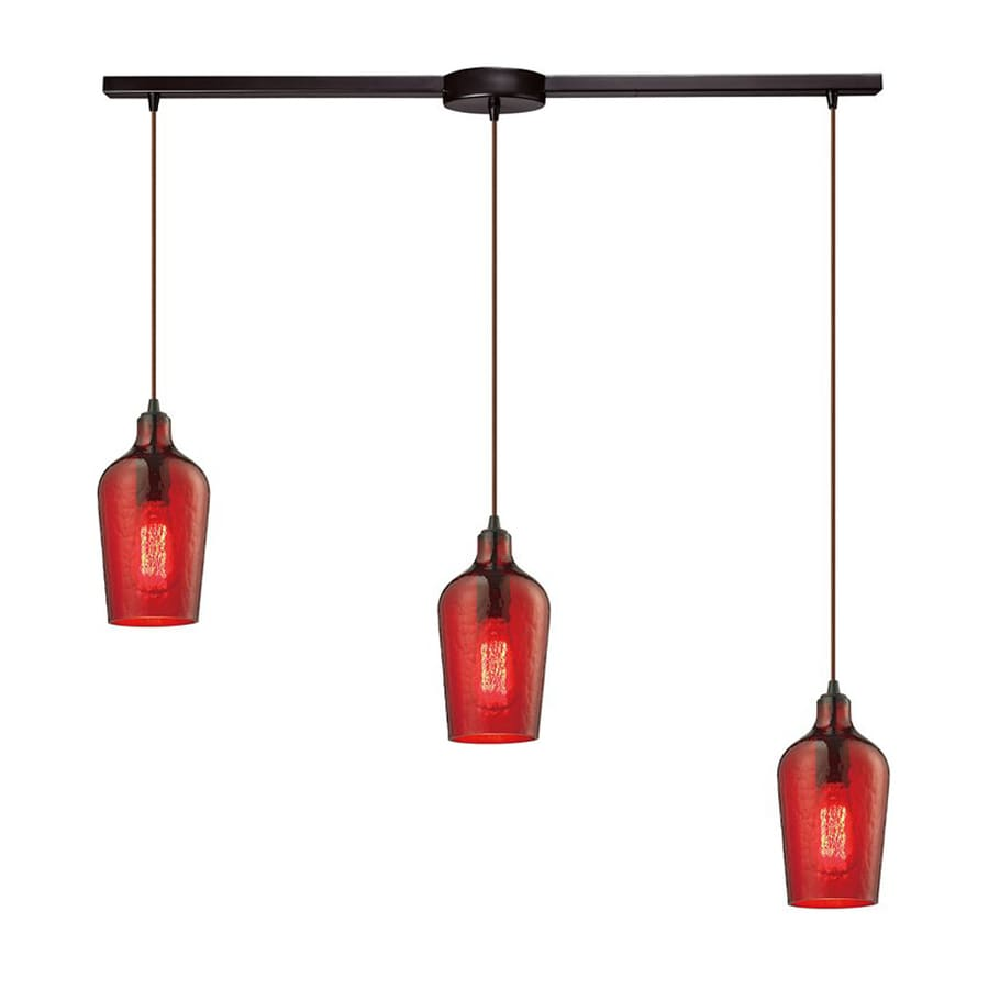 Westmore Lighting Glassmith 36-in Oil Rubbed Bronze Industrial Linear Tinted Glass Bell Pendant