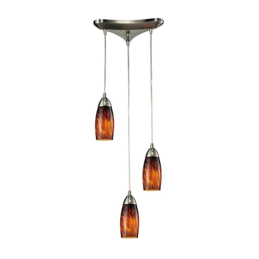 Westmore Lighting Salico 9.75-in Satin Nickel Multi-light Art Glass Cylinder Pendant
