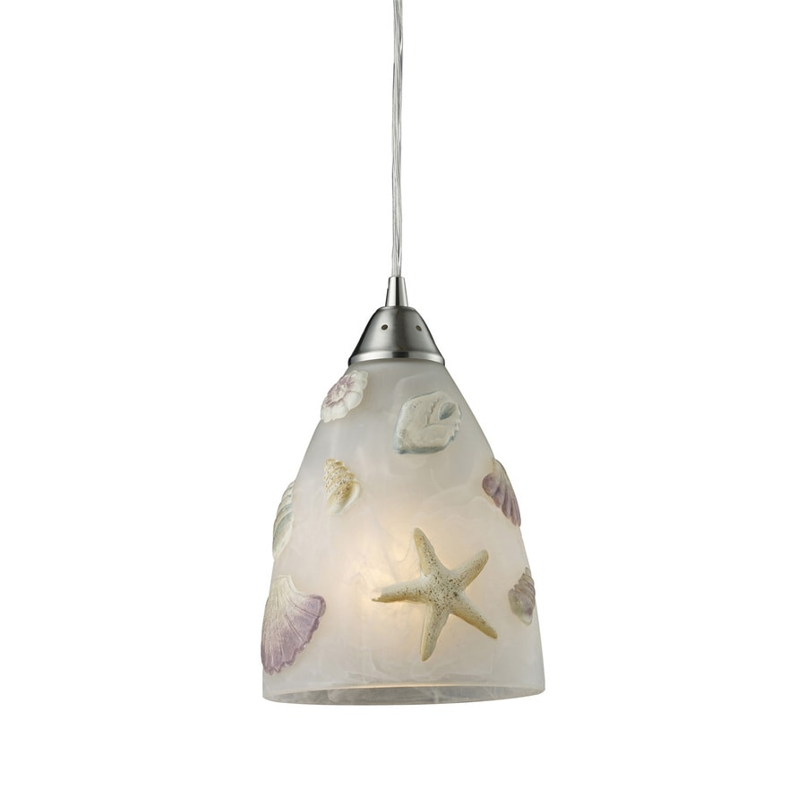 Westmore Lighting Seashore 7-in Nickel Coastal Mini Tinted Glass Bell LED Pendant