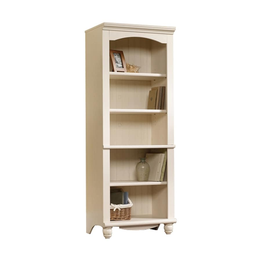 Sauder Harbor View Antiqued White 5-Shelf Bookcase