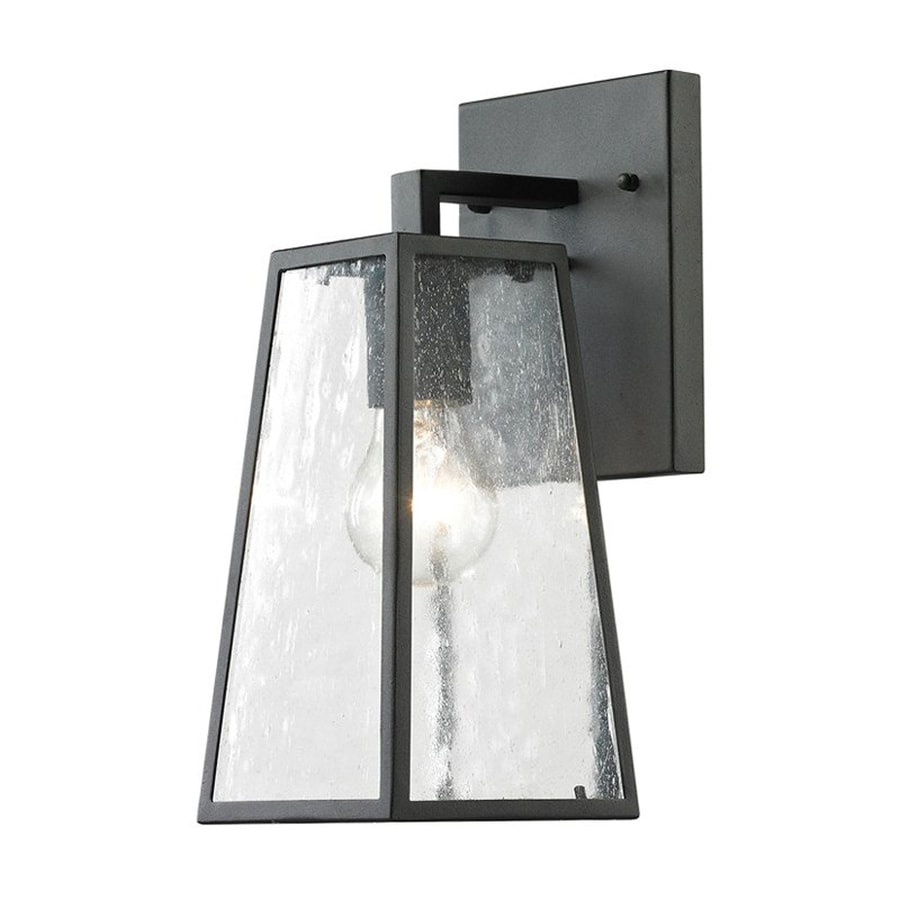 Westmore Lighting Meditterano 14-in H Textured Matte Black Medium Base (E-26) Outdoor Wall Light