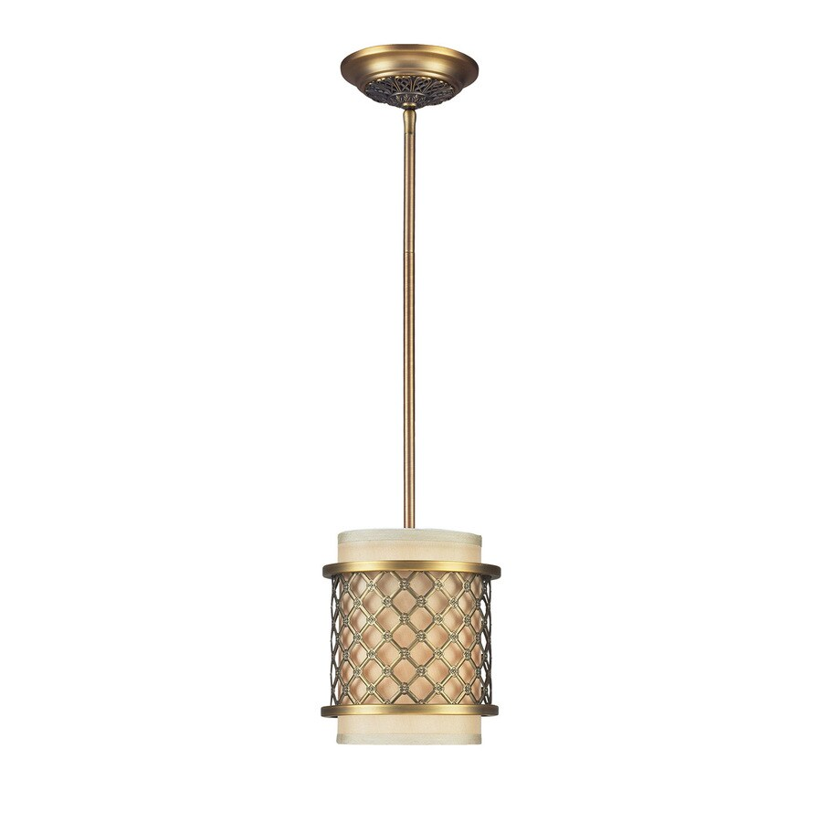 Westmore Lighting Chester 7-in Brushed Antique Brass Mini Etched Glass Cylinder LED Pendant