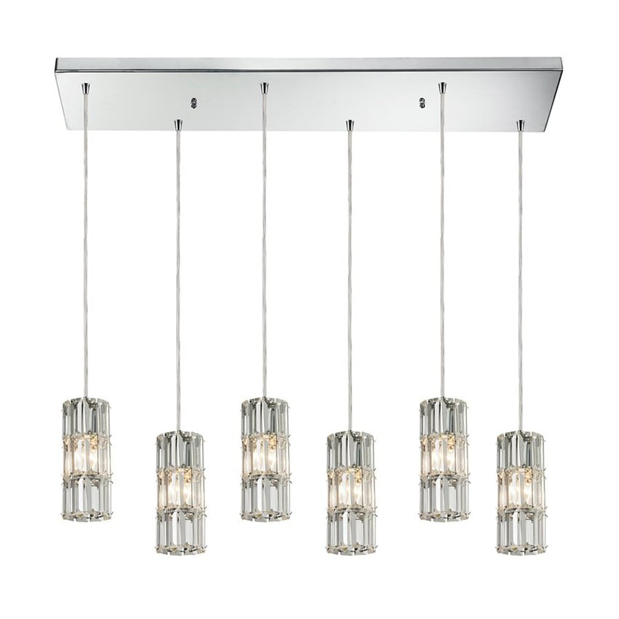 Westmore Lighting Cynthia 30-in W 6-Light Polished Chrome Kitchen Island Light with Crystal Shade