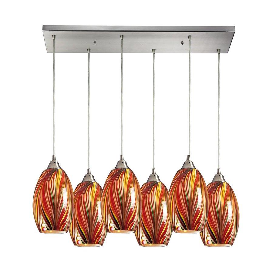 Westmore Lighting Mulinello 30-in W 6-Light Satin Nickel Art Glass Kitchen Island Light with Shade