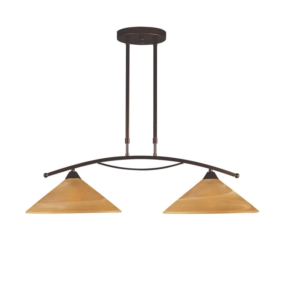 Westmore Lighting Elysburg 31-in W 2-Light Aged Bronze Contemporary/Modern Kitchen Island Light with Alabaster Shade