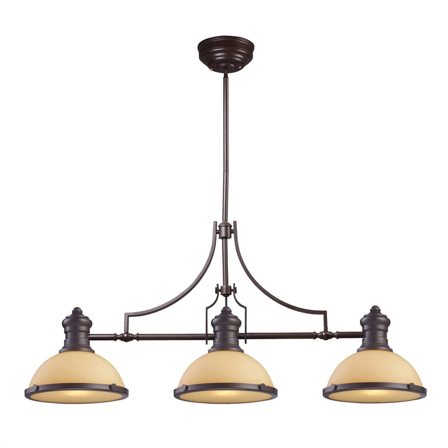 Westmore Lighting Chadwick 47-in W 3-Light Oiled Bronze Traditional Kitchen Island Light with Tinted Shade