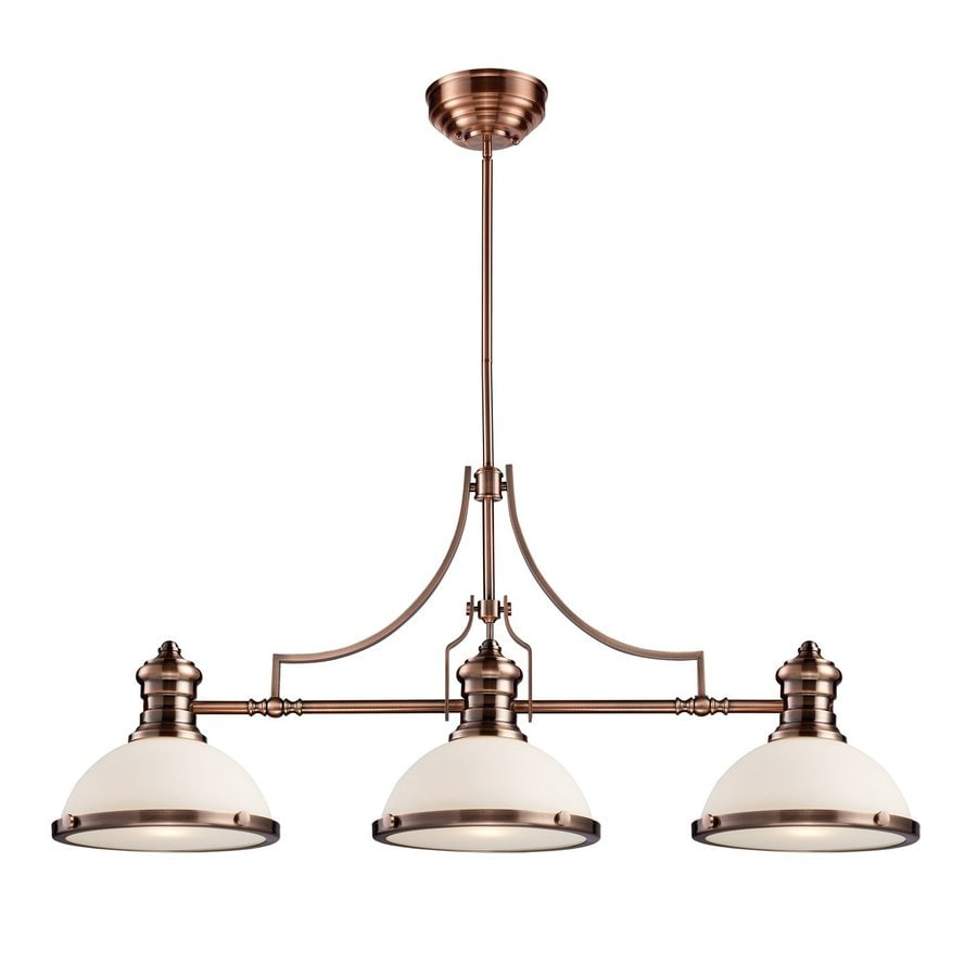 Westmore Lighting Chadwick 47-in W 3-Light Antique Copper Traditional Kitchen Island Light with White Shade