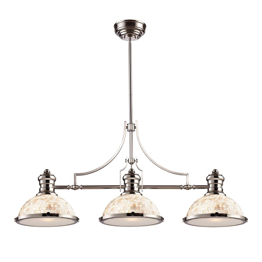 Westmore Lighting Chadwick 47-in W 3-Light Polished Nickel Traditional Kitchen Island Light with Shell Shade