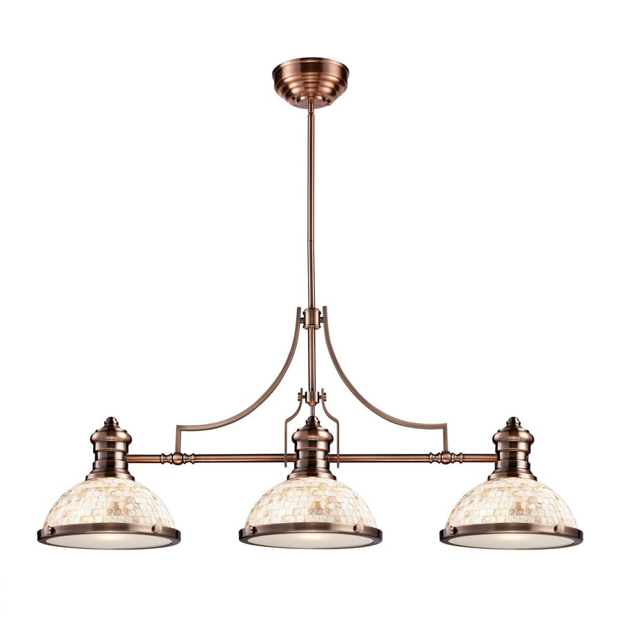 Westmore Lighting Chadwick 47-in W 3-Light Antique Copper Traditional Kitchen Island Light with Shell Shade