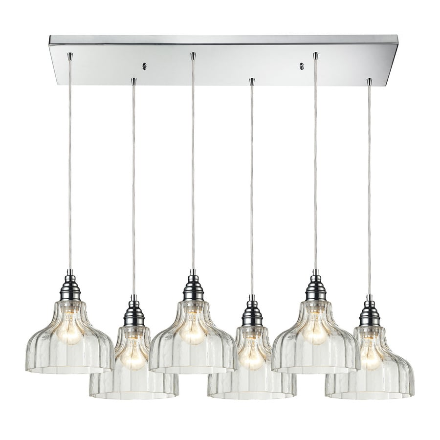 Westmore Lighting Danica 30-in W 6-Light Polished Chrome Casual/Transitional Kitchen Island Light with Clear Shade