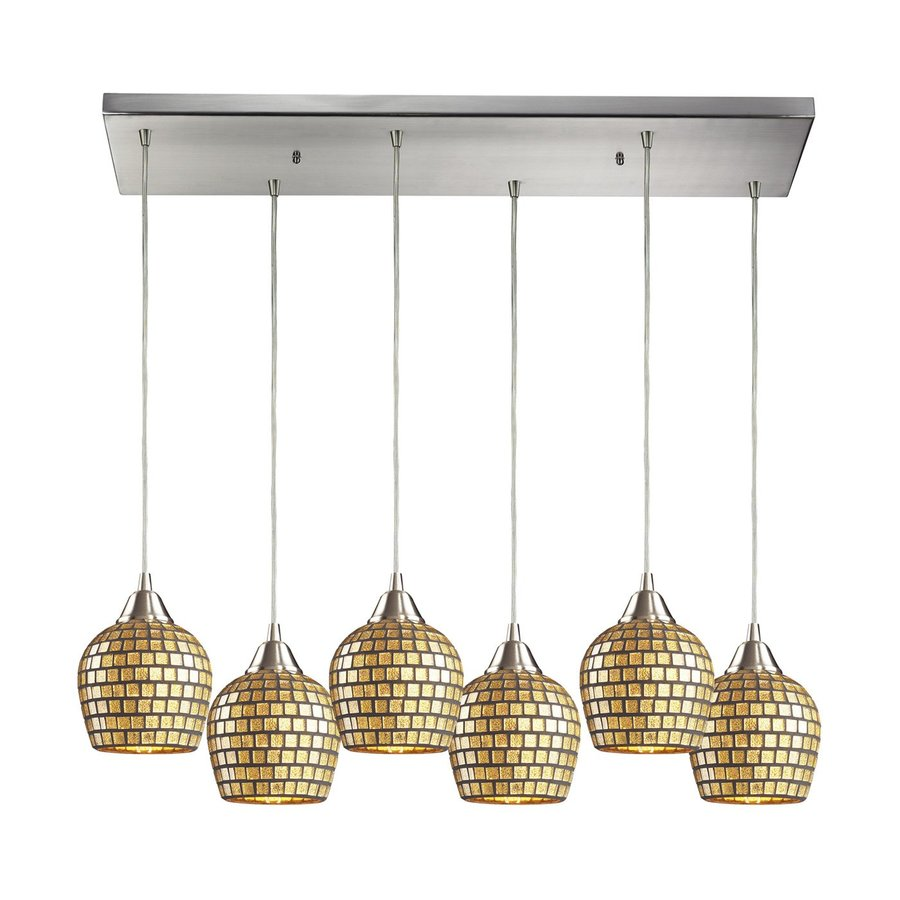 Westmore Lighting Fusion 30-in W 6-Light Satin Nickel Art Glass Kitchen Island Light with Shade