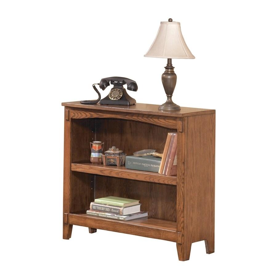 Signature Design by Ashley Cross Island Medium Brown Oak Wood 2-Shelf Bookcase