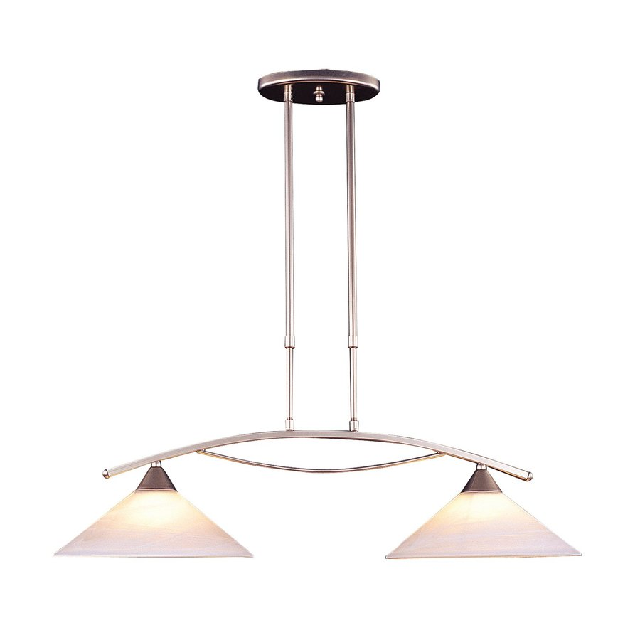 Westmore Lighting Elysburg 31-in W 2-Light Satin Nickel Contemporary/Modern Kitchen Island Light with Marbelized Shade
