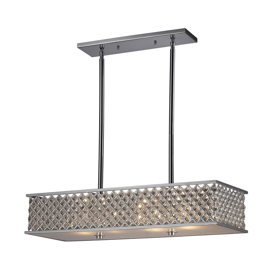 Westmore Lighting Genevieve 31-in W 4-Light Polished Chrome Crystal Accent Kitchen Island Light with Shade