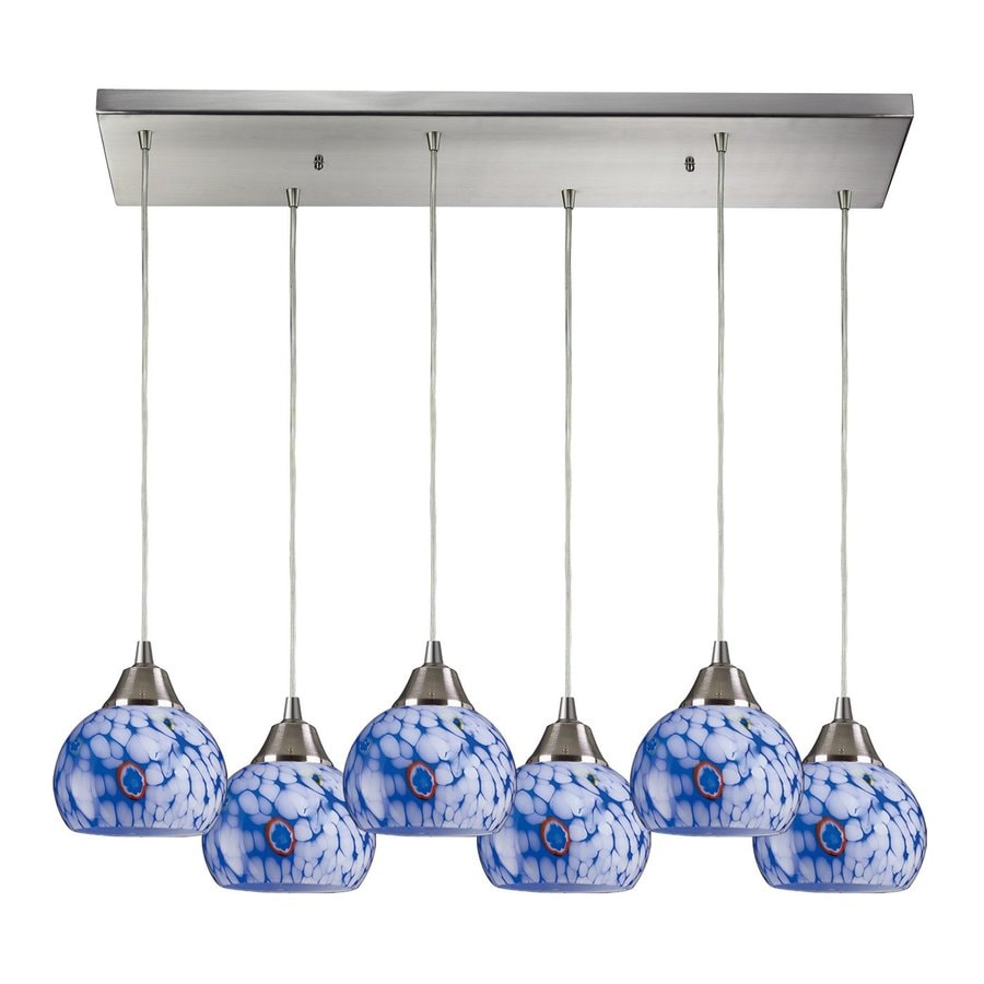 Westmore Lighting Mela 30-in W 6-Light Satin Nickel Art Glass Kitchen Island Light with Shade