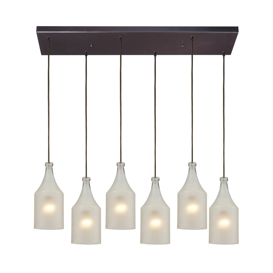 Westmore Lighting Skylar 30-in W 6-Light Oiled Bronze Contemporary/Modern Kitchen Island Light with Frosted Shade