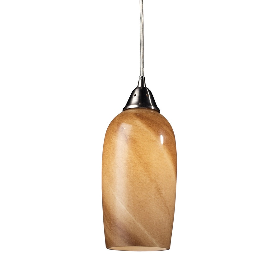Westmore Lighting Asterion 5-in Satin Nickel Mini Art Glass Cylinder LED Pendant
