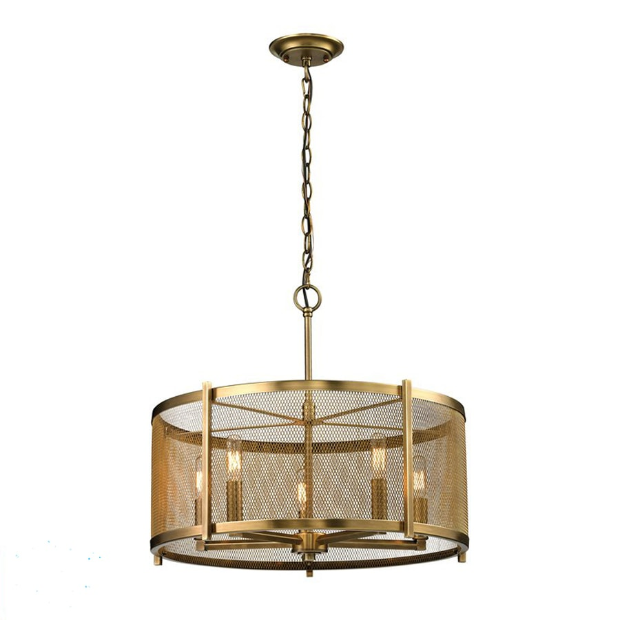 Westmore Lighting Rialto 22-in Aged Brass Single Drum Pendant