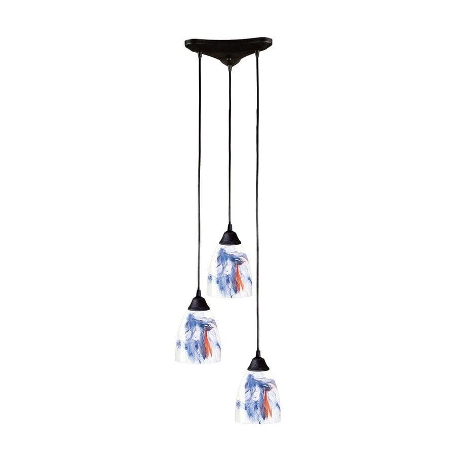 Westmore Lighting Veere 11.75-in Dark Rust Multi-light Art Glass Teardrop Pendant