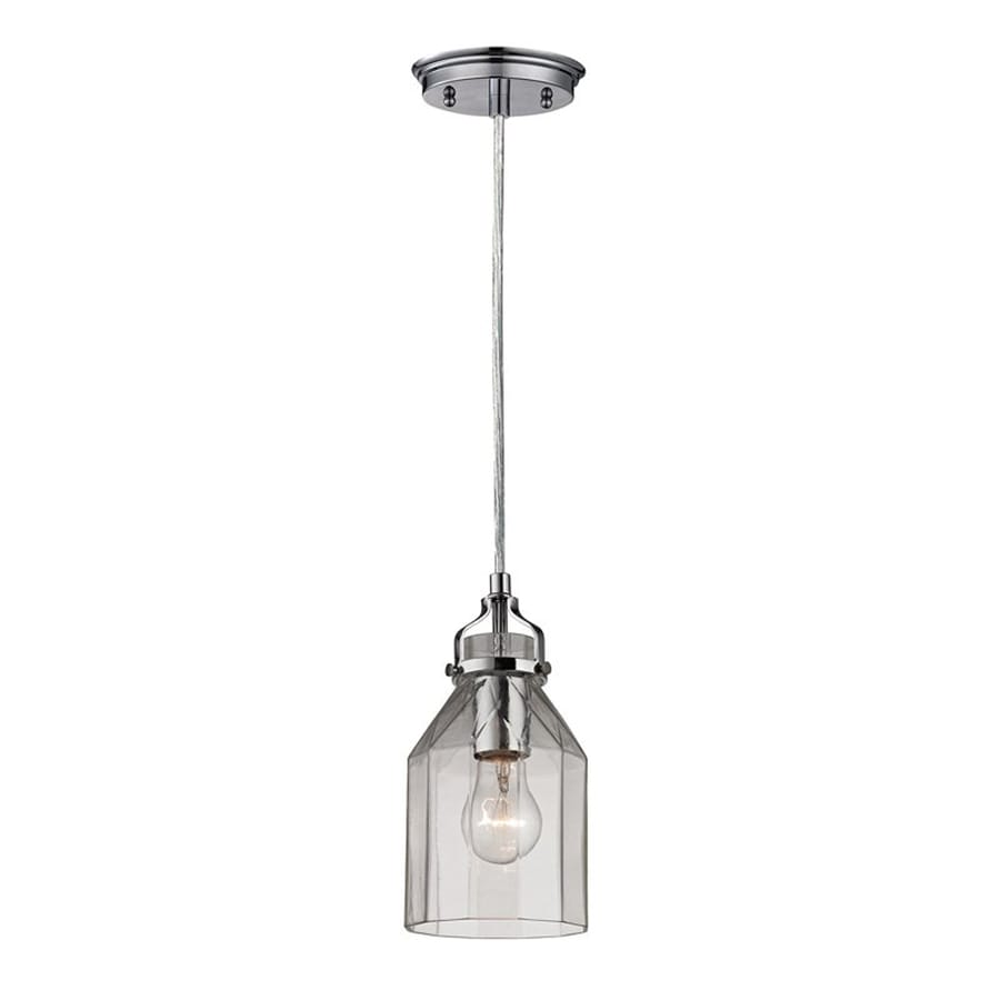Westmore Lighting Avoch 5.125-in Polished Chrome Mini Clear Glass Jar Pendant