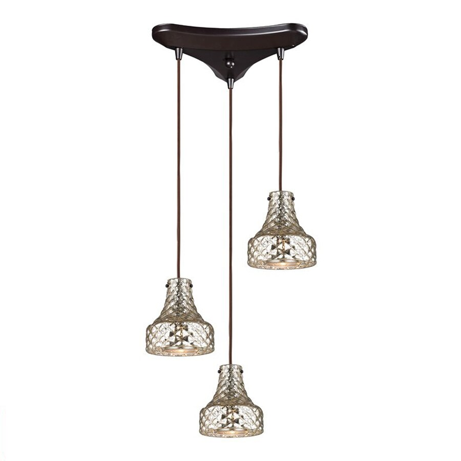 Westmore Lighting Avoch 11-in Oil Rubbed Bronze Vintage Multi-light Mercury Glass Bell Pendant