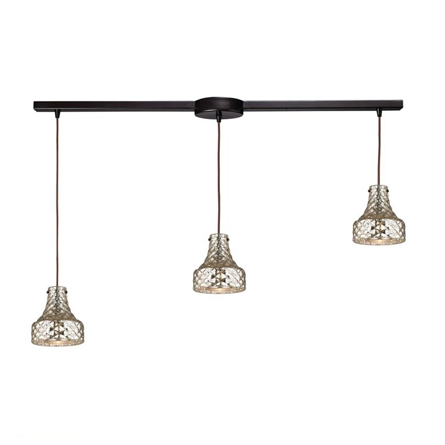 Westmore Lighting Avoch 36.125-in Oil Rubbed Bronze Vintage Linear Mercury Glass Bell Pendant