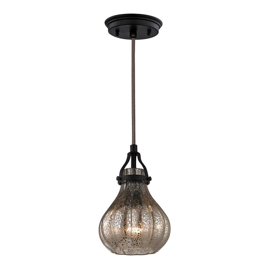 Westmore Lighting Avoch 6-in Oil Rubbed Bronze Vintage Mini Mercury Glass Teardrop Pendant