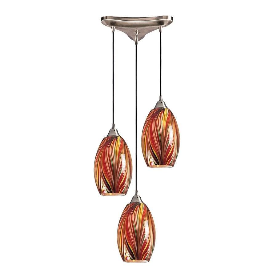 Westmore Lighting Florio 12.75-in Satin Nickel Multi-light Art Glass Teardrop Pendant