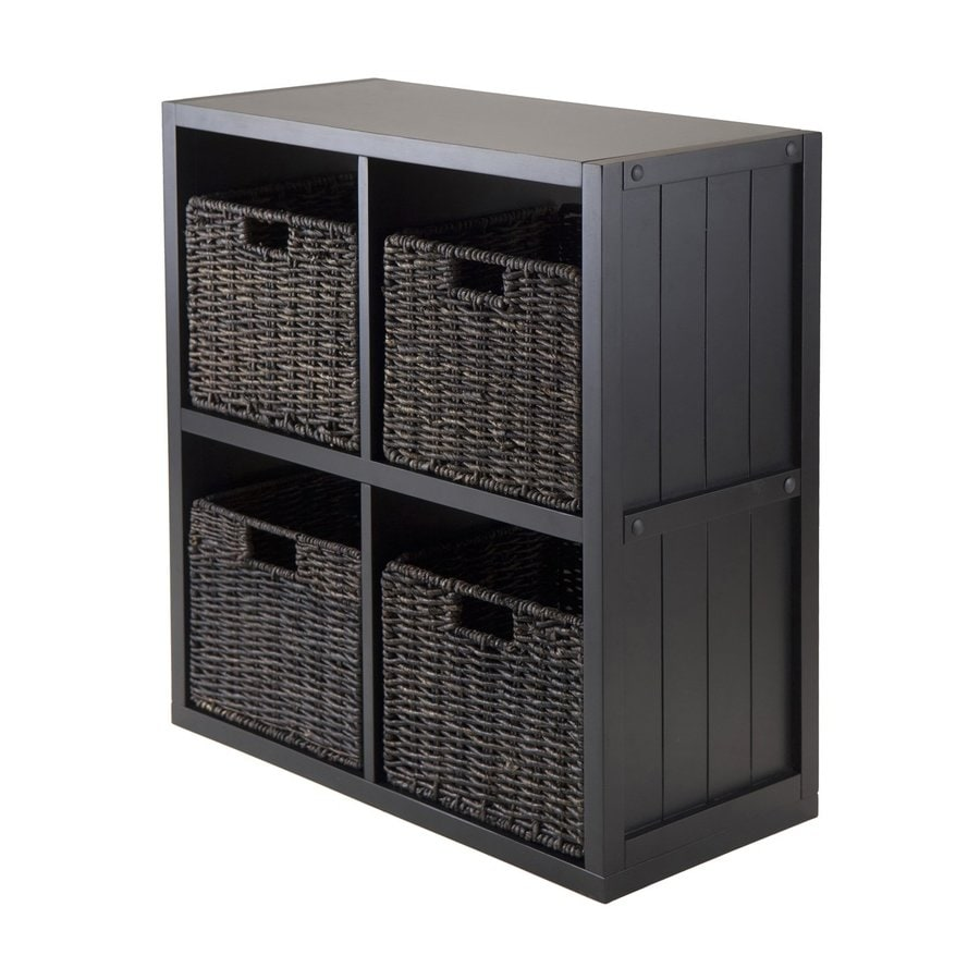Winsome Wood Timothy Black Composite 4-Shelf Bookcase