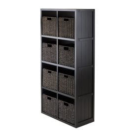 Winsome Wood Timothy Black Composite 8 Shelf Bookcase