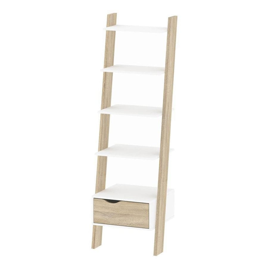 Tvilum Diana Oak White 5 Shelf Ladder Bookcase