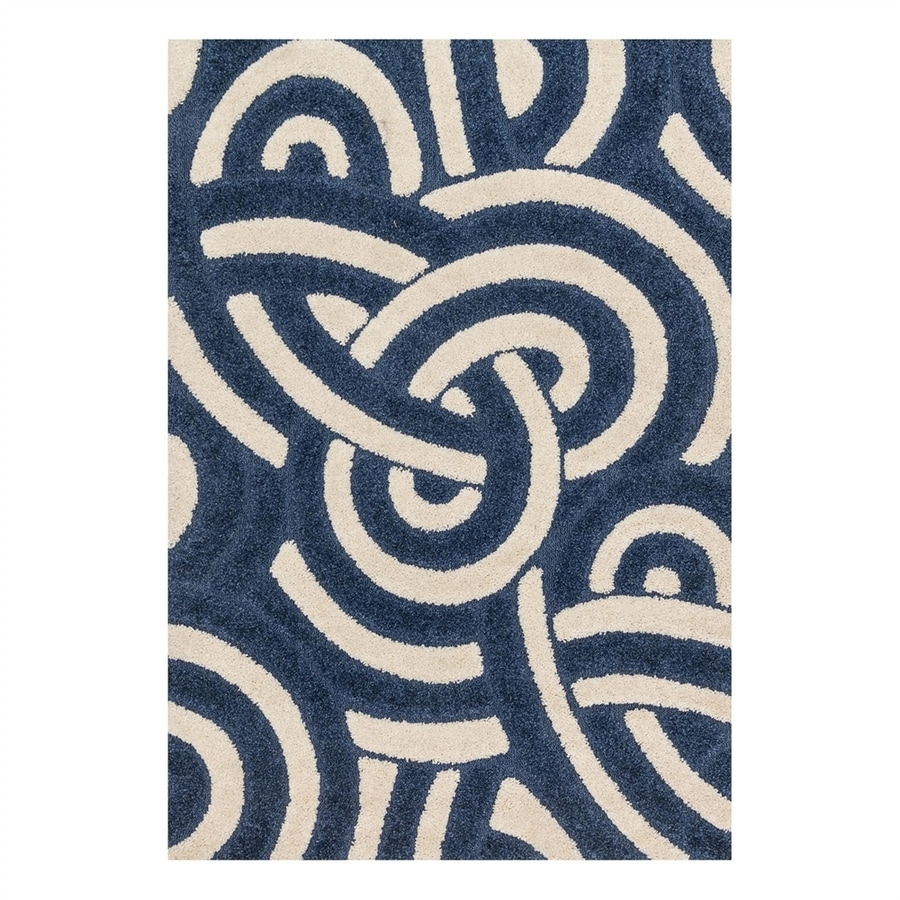 Loloi Enchant Navy/Ivory Rectangular Indoor Machine-Made Area Rug (Common: 5 x 7; Actual: 5.25-ft W x 7.58-ft L)