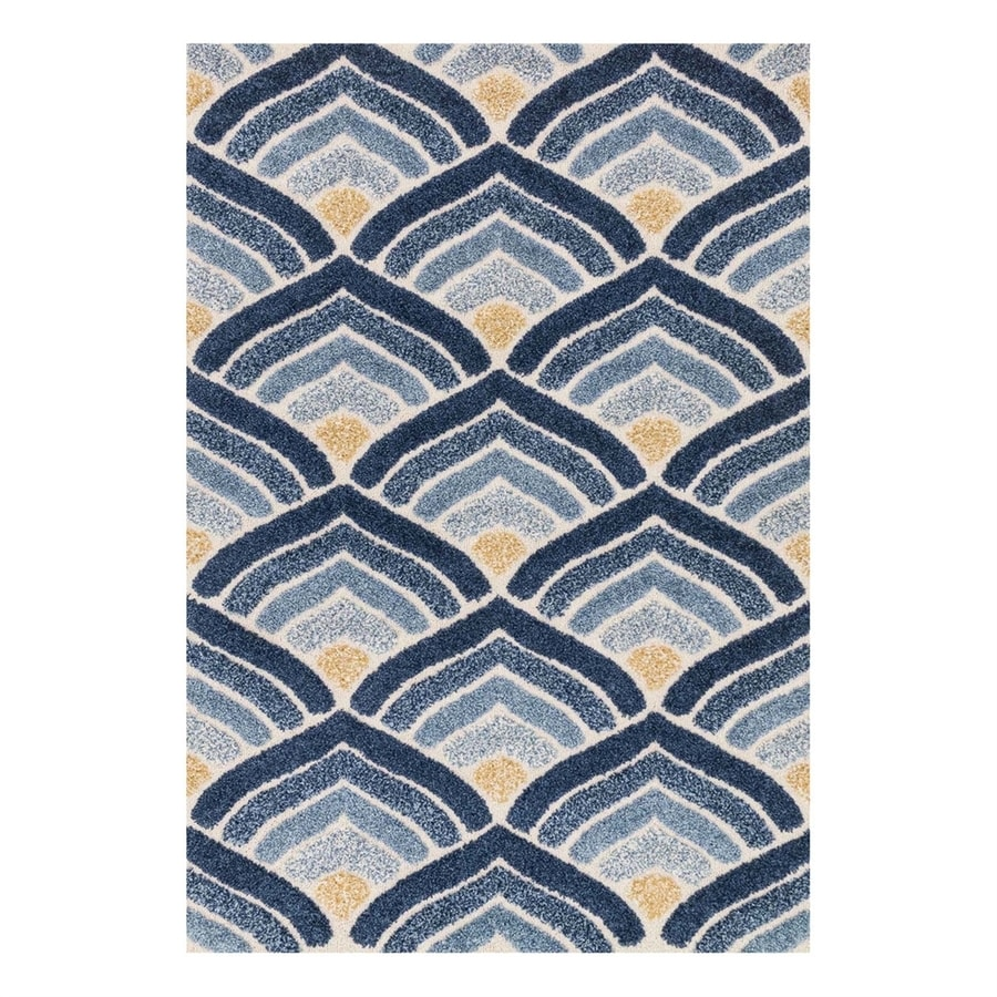Loloi Enchant Ivory/Blue Rectangular Indoor Machine-Made Throw Rug (Common: 2 x 3; Actual: 2.25-ft W x 3.75-ft L)