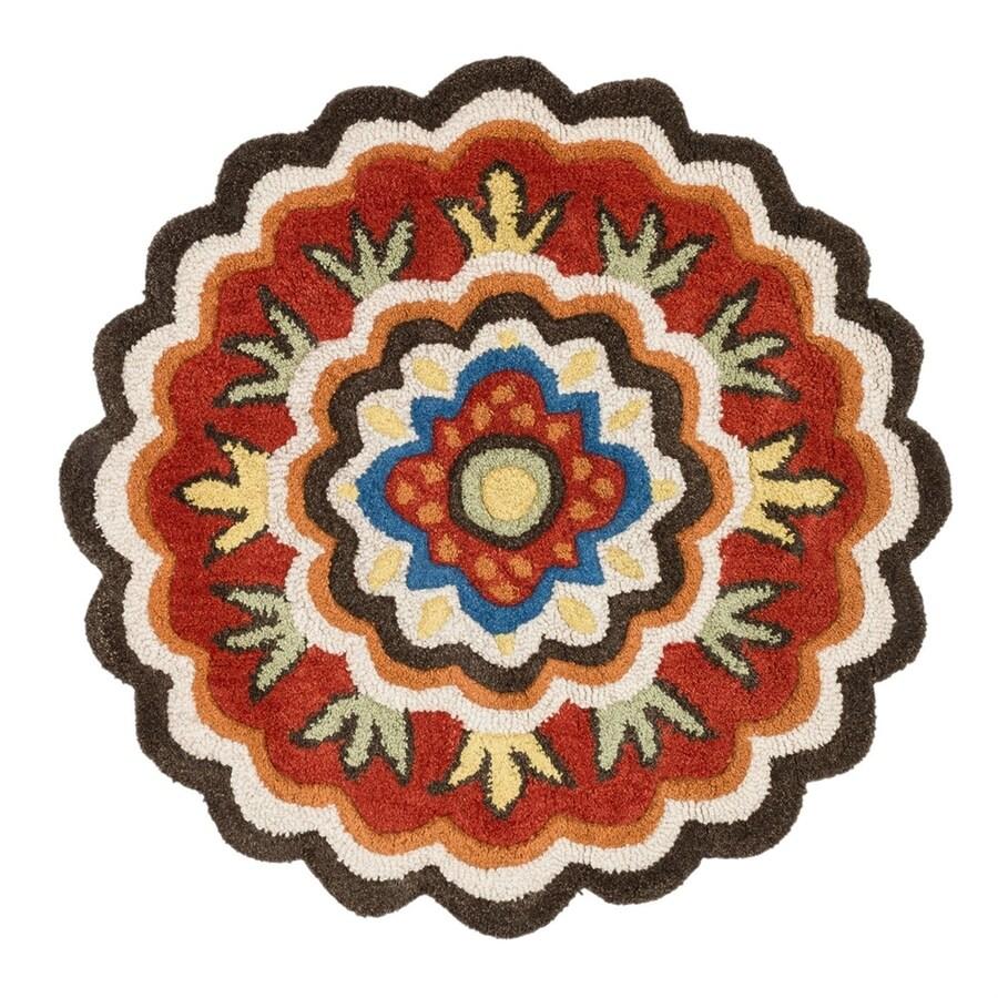 Loloi Azalea Brown/Red Round Indoor Handcrafted Area Rug