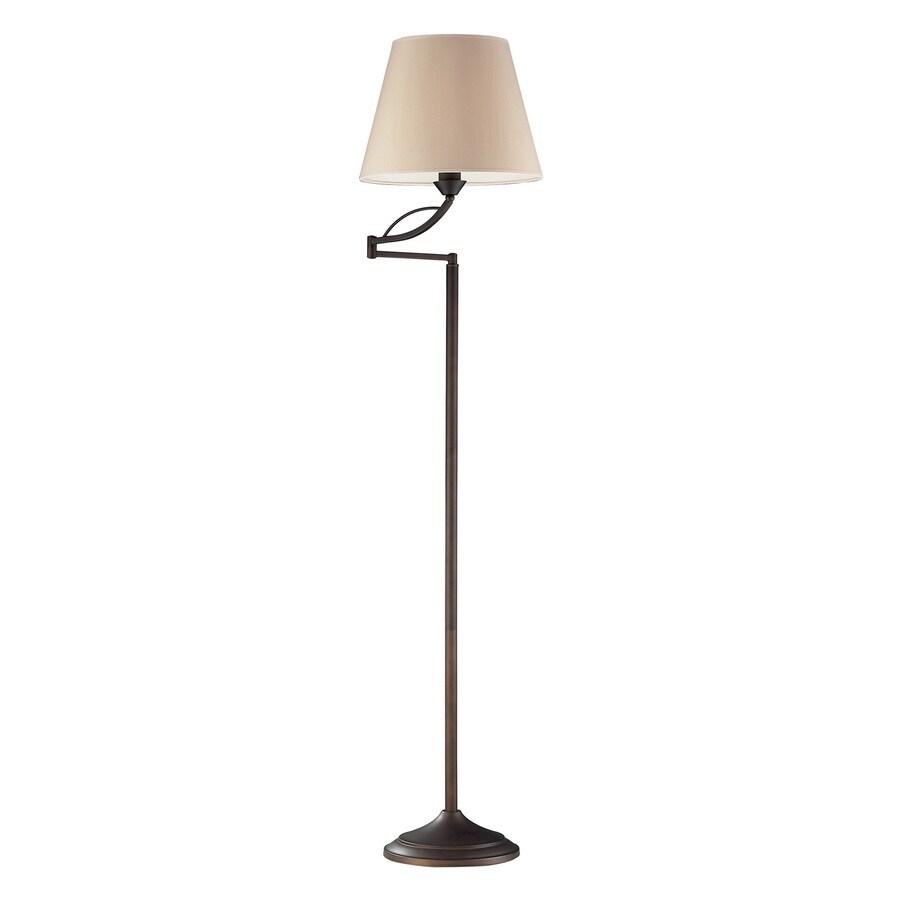 Westmore Lighting Elysburg 56-in Aged Bronze Swing-arm Floor Lamp with Fabric Shade