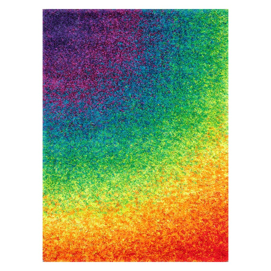 Loloi Barcelona Shag Rainbow Rectangular Indoor Machine-Made Area Rug (Common: 3 x 5; Actual: 3.75-ft W x 5.5-ft L)