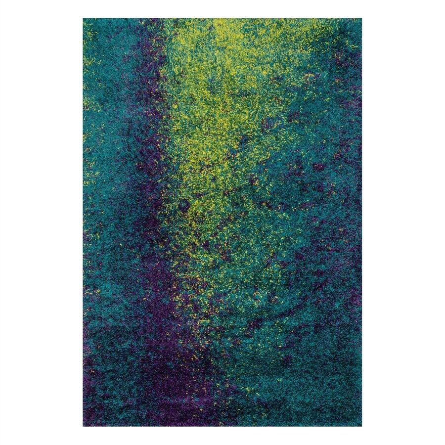 Loloi Barcelona Shag Peacock/Lime Rectangular Indoor Machine-Made Area Rug (Common: 3 x 5; Actual: 3.75-ft W x 5.5-ft L)