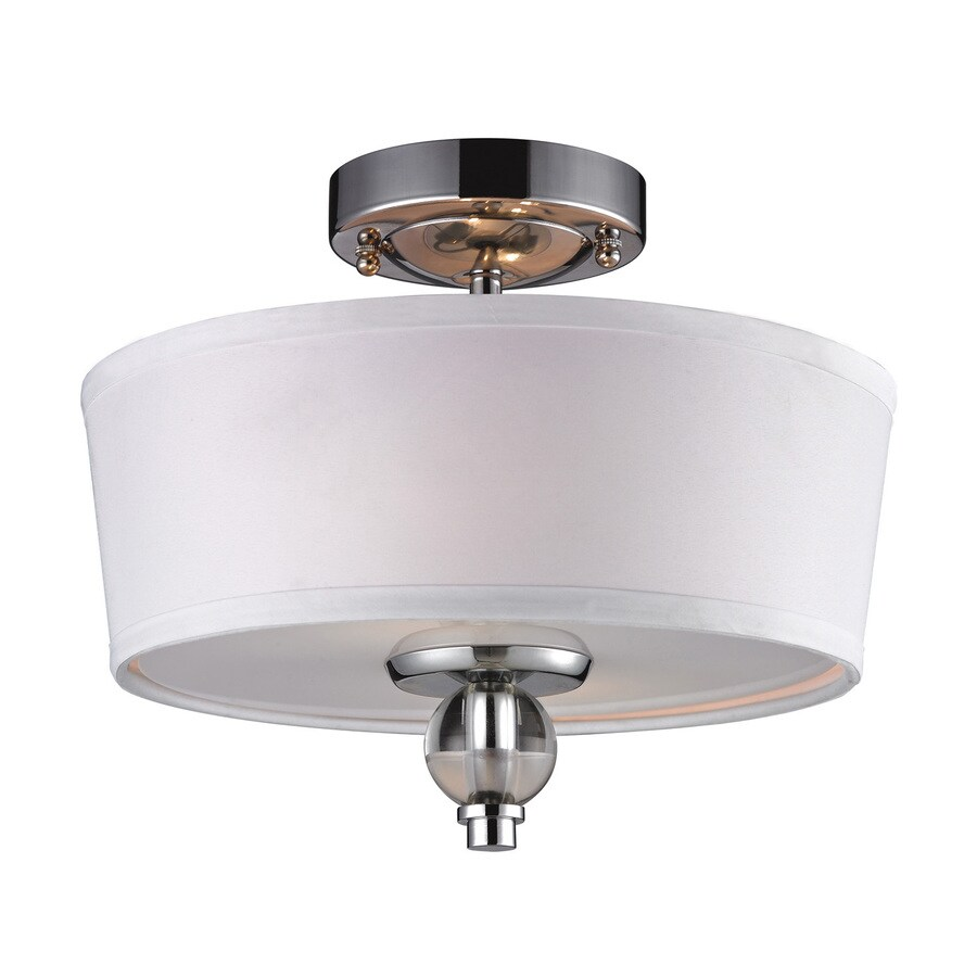 Westmore Lighting Martina 12-in W Polished Chrome Fabric Semi-Flush Mount Light