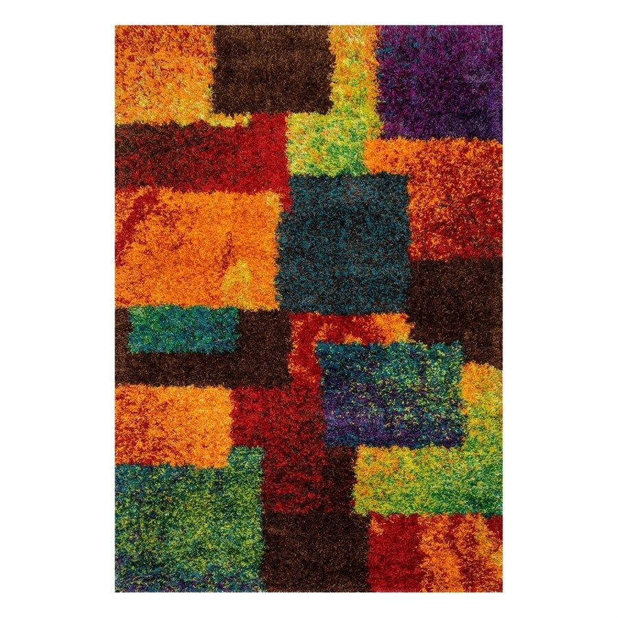 Loloi Barcelona Shag Multi Rectangular Indoor Machine-Made Area Rug (Common: 7 x 10; Actual: 7.58-ft W x 10.41-ft L)
